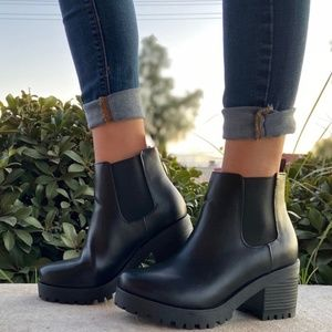Black Chunky Heel Ankle Bootie